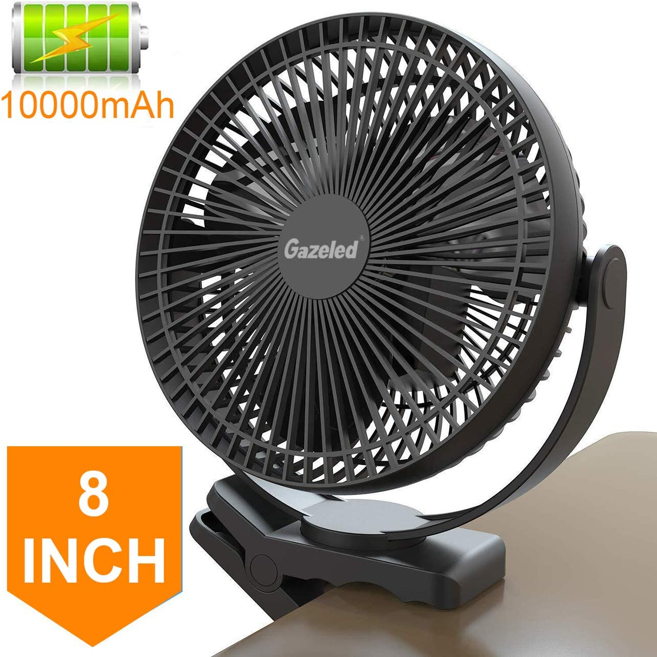 Clip Fan Battery Operated, 8 Inch 10000mAh Rechargeable Fan for Baby, 4 Speeds & 10W Fast Charging, Portable Cooling USB Fan for Baby Stroller Office Golf Cart Car Gym Treadmill,2 in 1 Desk&Clip Fan