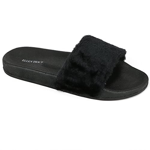 cebd9f60527822 ELLEN TRACY Women s Faux Fur Slides Slipper Sandal Shoes (5-6 B(M