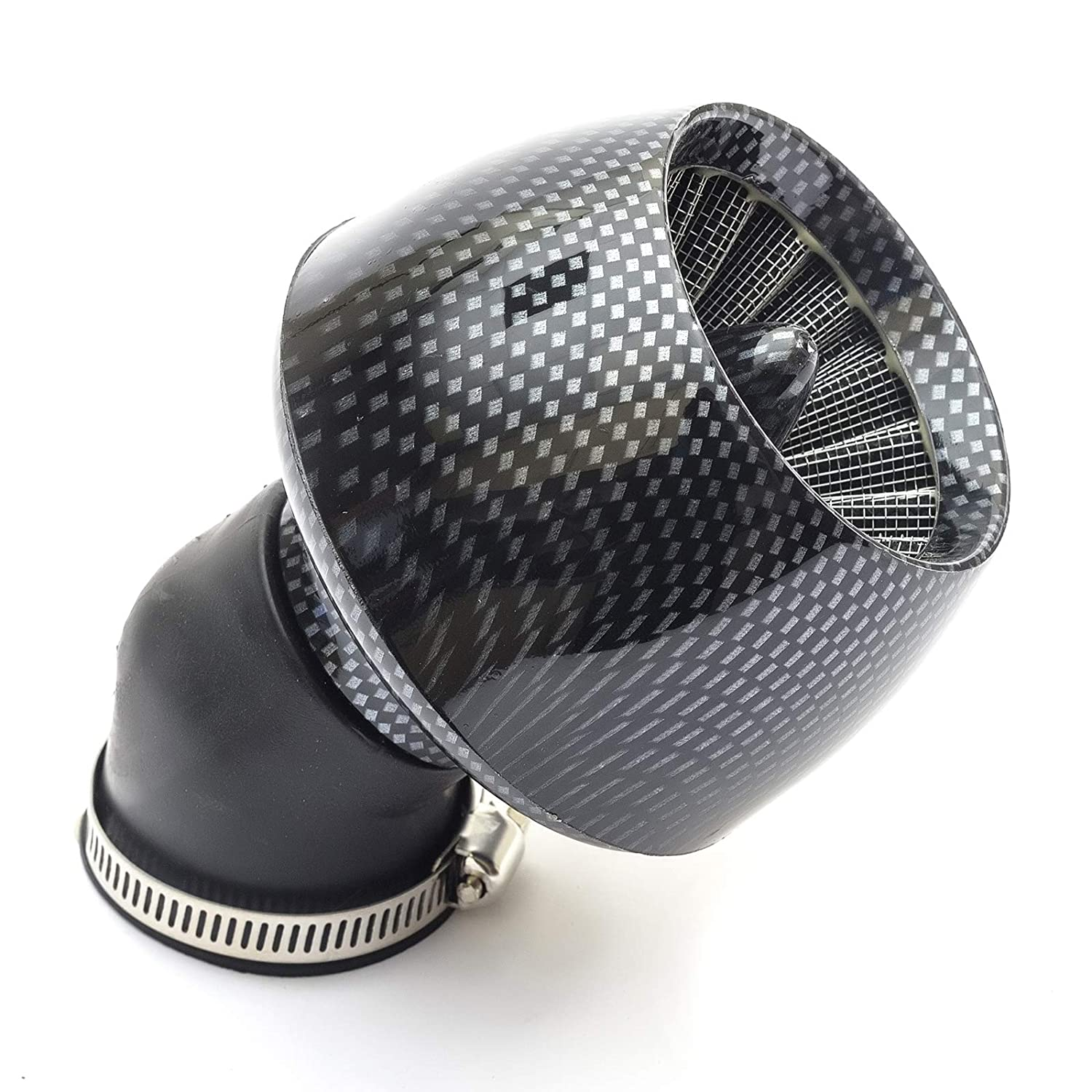 Air Filter 44mm Jet Cone Carbon Fibre Effect 45 Degree Angled Neck Pitbike Dirtbike Fits 42mm and 46mm Carburettors Petrolscooter
