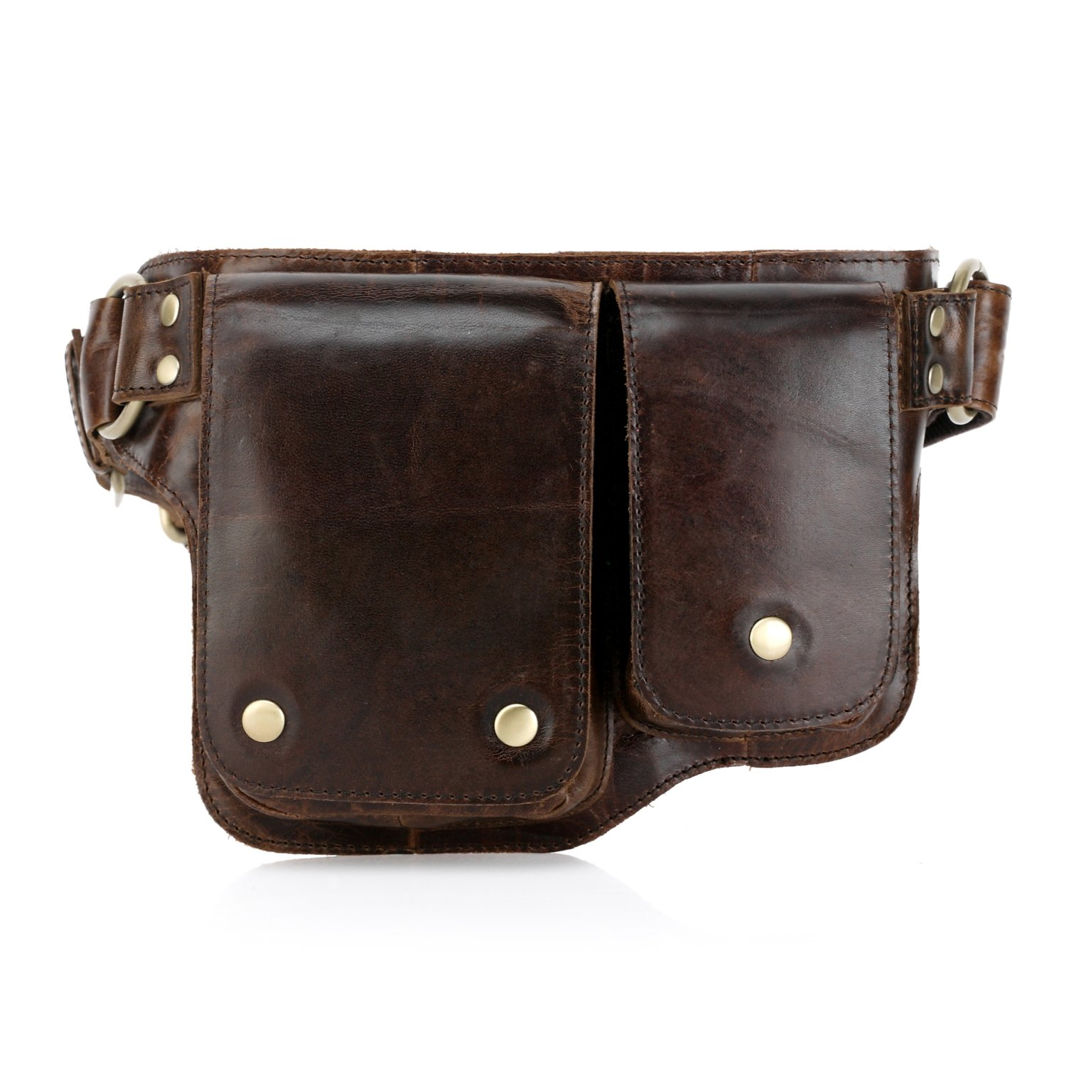 Vicenzo Leather Adonis 2 Leather Waist Pack Hip Purse 3013BROWN