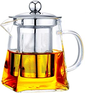 with Infuser Clear Glass Teapot,Tea Pot with Tea Strainers,Borosilicate Glass Teapot with Infusers for Loose TeaHeat Resistant Loose Leaf Teapot,Stovetop Dishwasher Safe (750ML/25OZ)