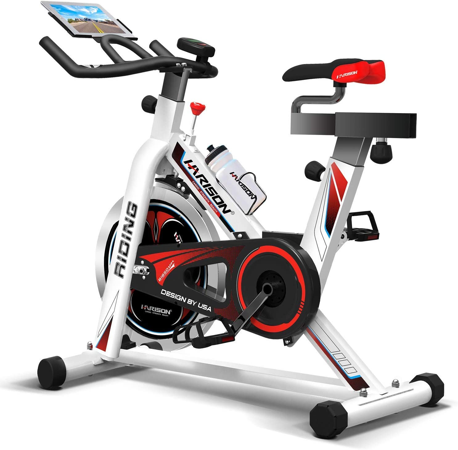 HARISON Pro Indoor Cycling Bike with Table Holder Exercise Bike Stationary Bicycle for Home Gym Cardio Workout