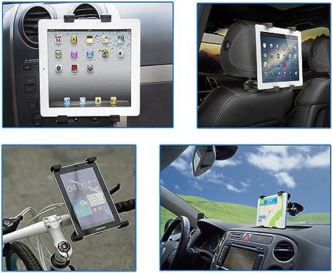 Color Dreams® Soporte tablet coche, soporte tablet bicicleta moto [Kit 4 en 1]. Soporte coche tablet reposacabezas, rejilla ventilación y ventosa para salpicadero-parabrisas + Soporte tablet bicicleta o moto. Ajustable para diferentes