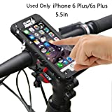 Bike Mount Holder MOTO Mount Holder Bike Phone Mount with IP68 Waterproof Case for bicycle iPhone 6 Plus / 6s Plus(5.5in) 360 Degree Rotation Touch Screen Fingerprint identification