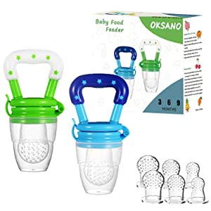 Baby Food Feeder Fruit Infant Pacifier(2 Pack) - OKSANO Teething Pacifiers for Babies Fresh Frozen Fruit Appetite Stimulating Colors Includes SML Silicone Nipple Teether Pacifiers