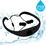 Tayogo Waterproof MP3 player bluetooth swimming Headphones, bluetooth 8GB waterproof mp3 player 3M Underwater IPX8 waterproof FM radio for Running Swimming Riding Walking SPA and other Water Sport