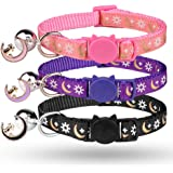 3PCS Breakaway Cat Collars with Bell Golden Moon Glowing Sun and Star in The Dark for Kitten with Pendant