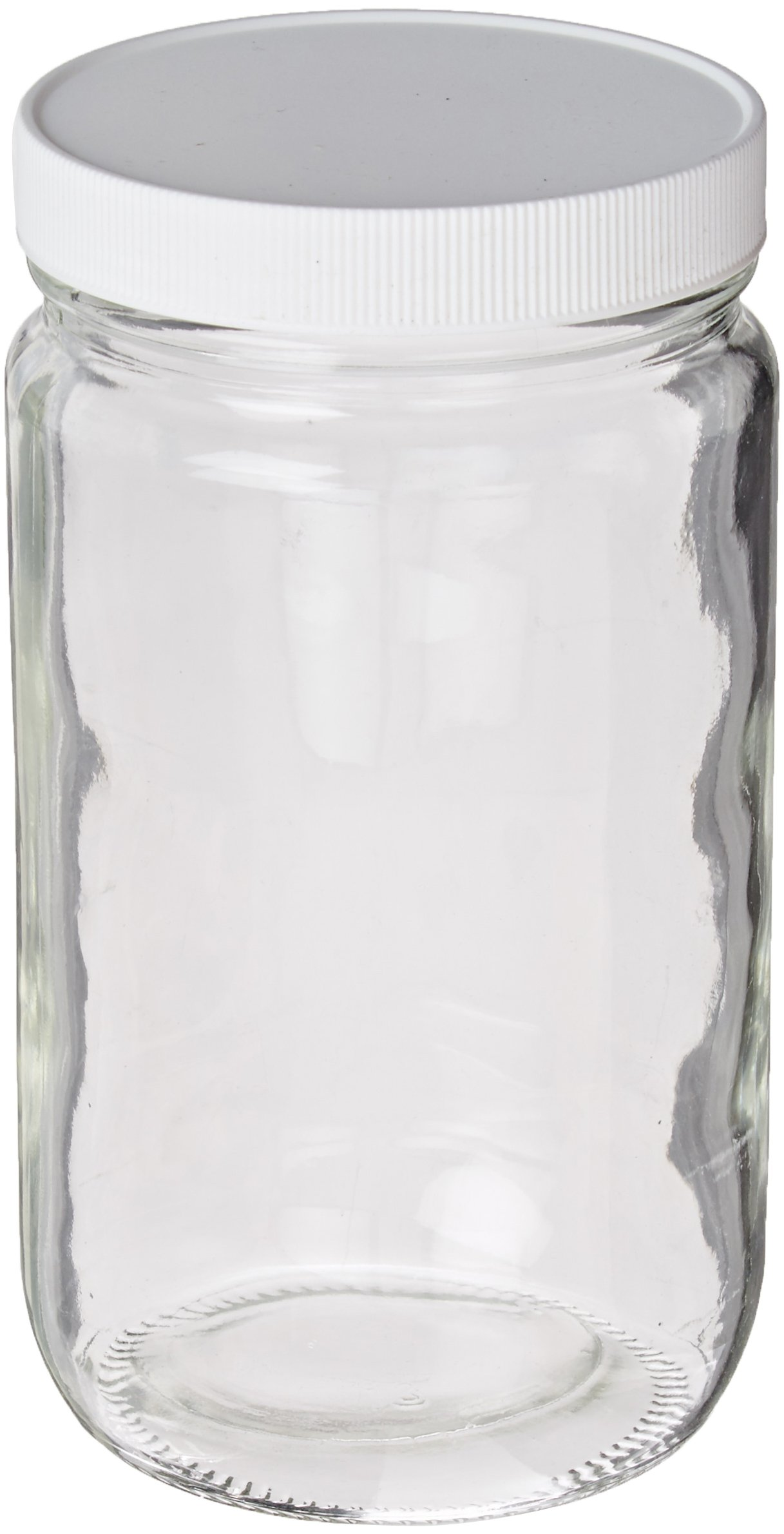 JG Finneran 9-184 Clear Borosilicate Glass Standard Short Straight Sided Wide Mouth Jar with White Polypropylene Closure and 0.015'' PTFE Lined, 89-400mm Cap Size, 1000mL Capacity (Pack of 12)