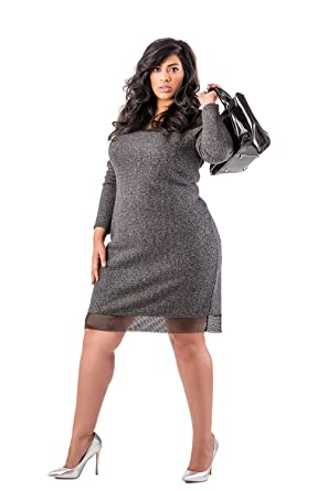 94665cb08cd6c Poetic Justice Plus Size Curvy Women s Black French Terry Mesh Long Sleeve Dress  Size 1X