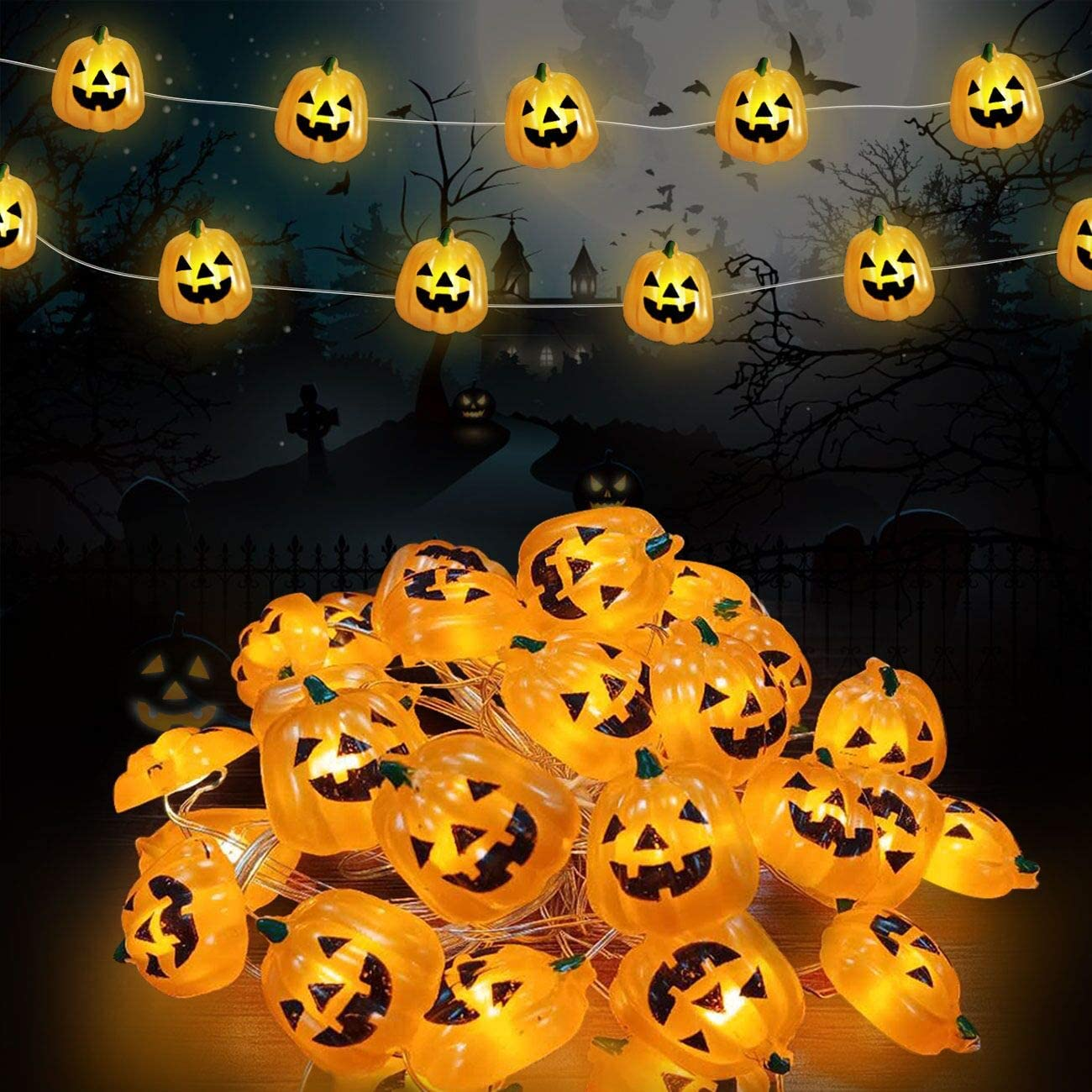 KRABICE Halloween String Lights, Pumpkin String Lights with 30 LED Pumpkin Lights, Battery Operated Halloween Decoration Lights, for Indoor Outdoor Patio, Garden, Gate, Yard