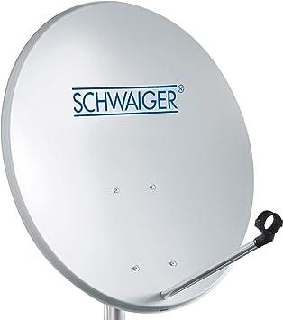 SCHWAIGER -128- Antena satelital | antena satelital con brazo de soporte LNB y montaje en el mástil | antena satelital de acero | 55 x 62 cm