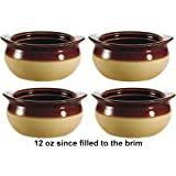 Brown and Ivory Porcelain Onion Soup Crock Bowl, Healthy Portion Size, 12 Ounce, Set of 4