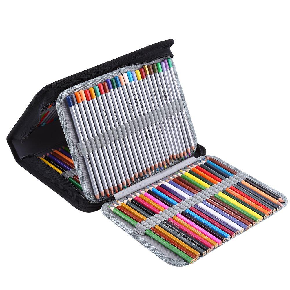 Aramox Bolso para lápices de Cuero la de la Cuero PU 150 Ranuras Estuche de lápices Impermeable de múltiples Capas de Gran Capacidad para Estudiantes(Rosa) 2cf896