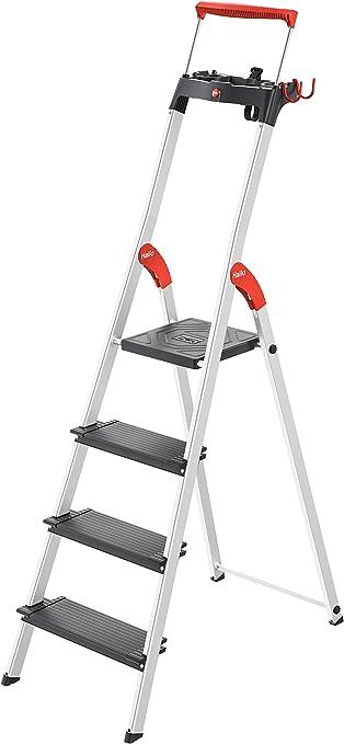 Escalera de aluminio de seguridad Hailo L100 TopLine con bandeja multifunción, asa de seguridad y bloqueo de plataforma ofrece seguridad en formato XXL: 130 mm niveles extra profundos.: Amazon.es: Bricolaje y herramientas
