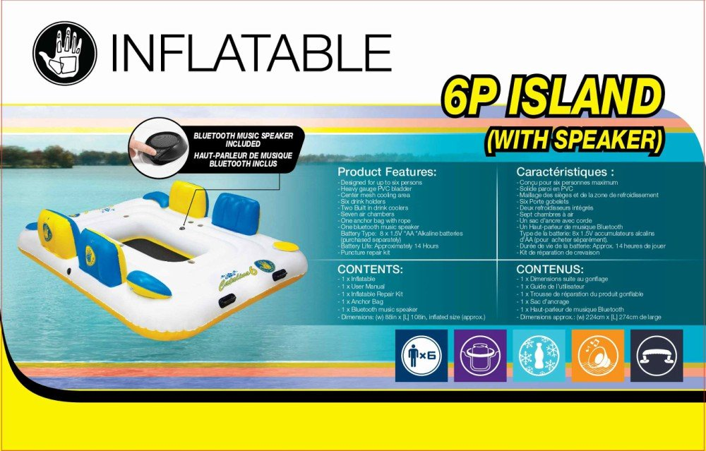 Body Glove Six Person Inflatable Floating Catalina Island with Bluetooth Speaker, 2 Coolers 6 Drink Holders
