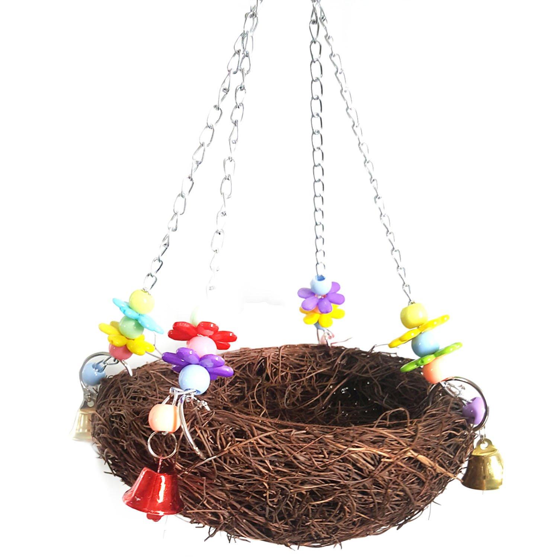 Pendaison de rotin naturel nid d'oiseau Swing jouet avec des cloches pour perroquet cacatoès Perruche Cockatiels Conure Finch inséparable macaw Gosear