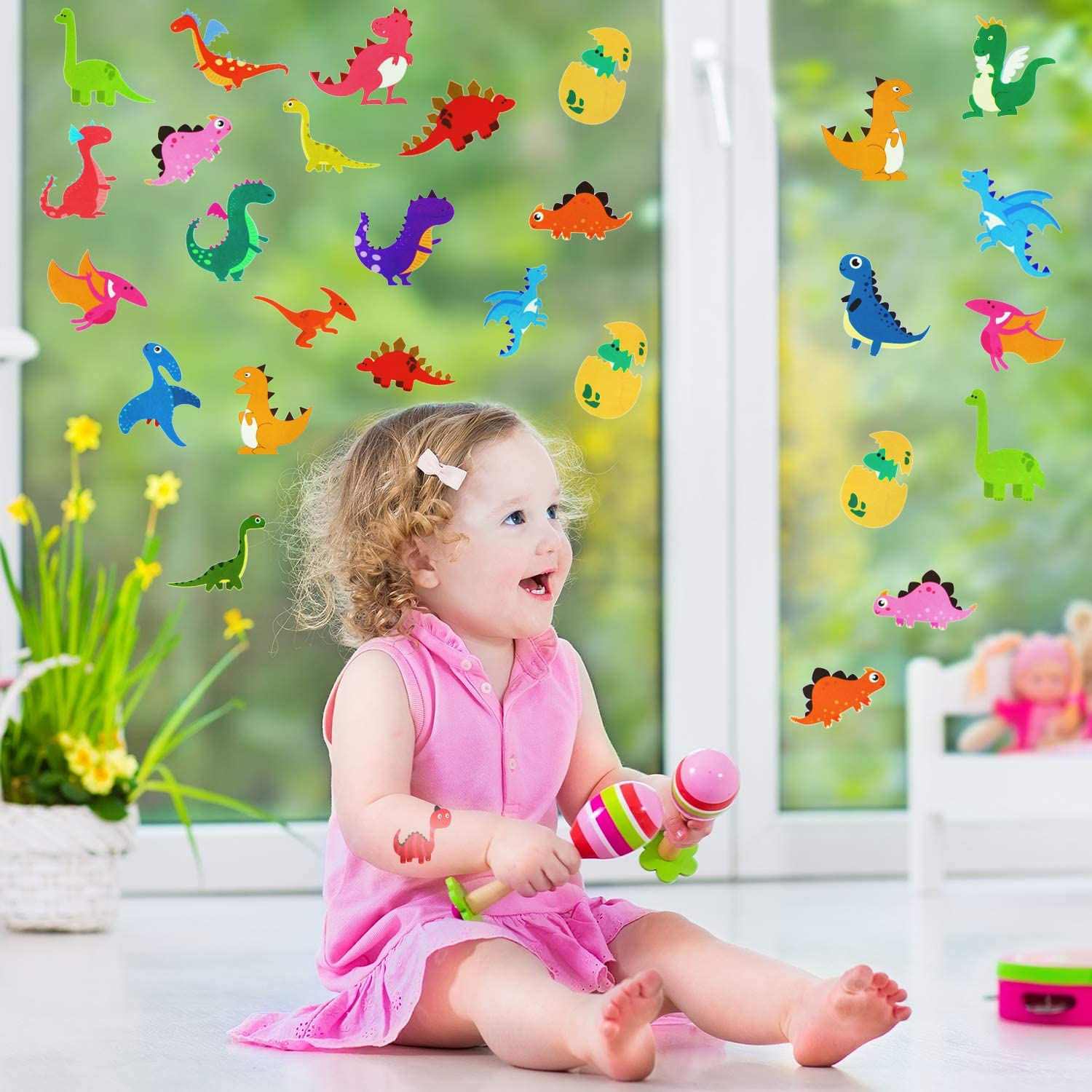 200 Pieces Dinosaur Theme Window Clings Removable Window Clings Decals Non-Adhesive Static Window Stickers for Glass Windows Home Classroom