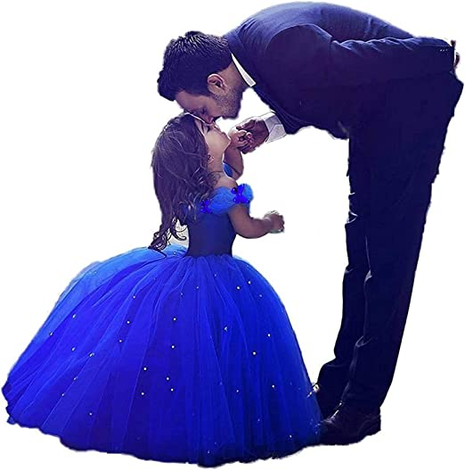 Girls Blue Prom Puffy Tulle Princess Ball Gowns Kids Pageant Flower Girls Dresses