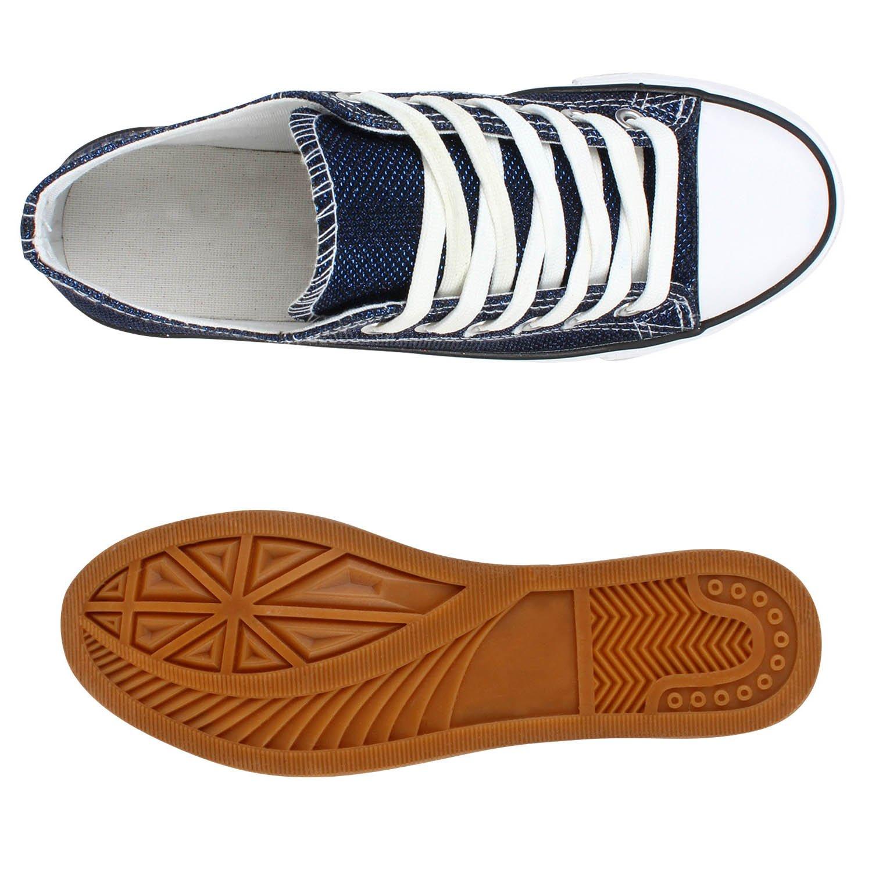 sports shoes 6198c 0edd3 Stiefelparadies Damen Sneaker Low Blau Glitzer Flandell ...