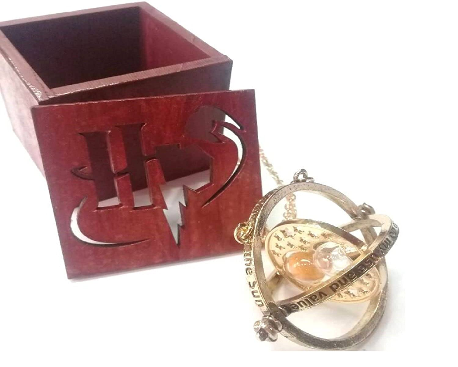 GSC Moda Harry Potter - Hermione 's Time Turner Granger Rotating Hour Glass with its Wooden Box Gift
