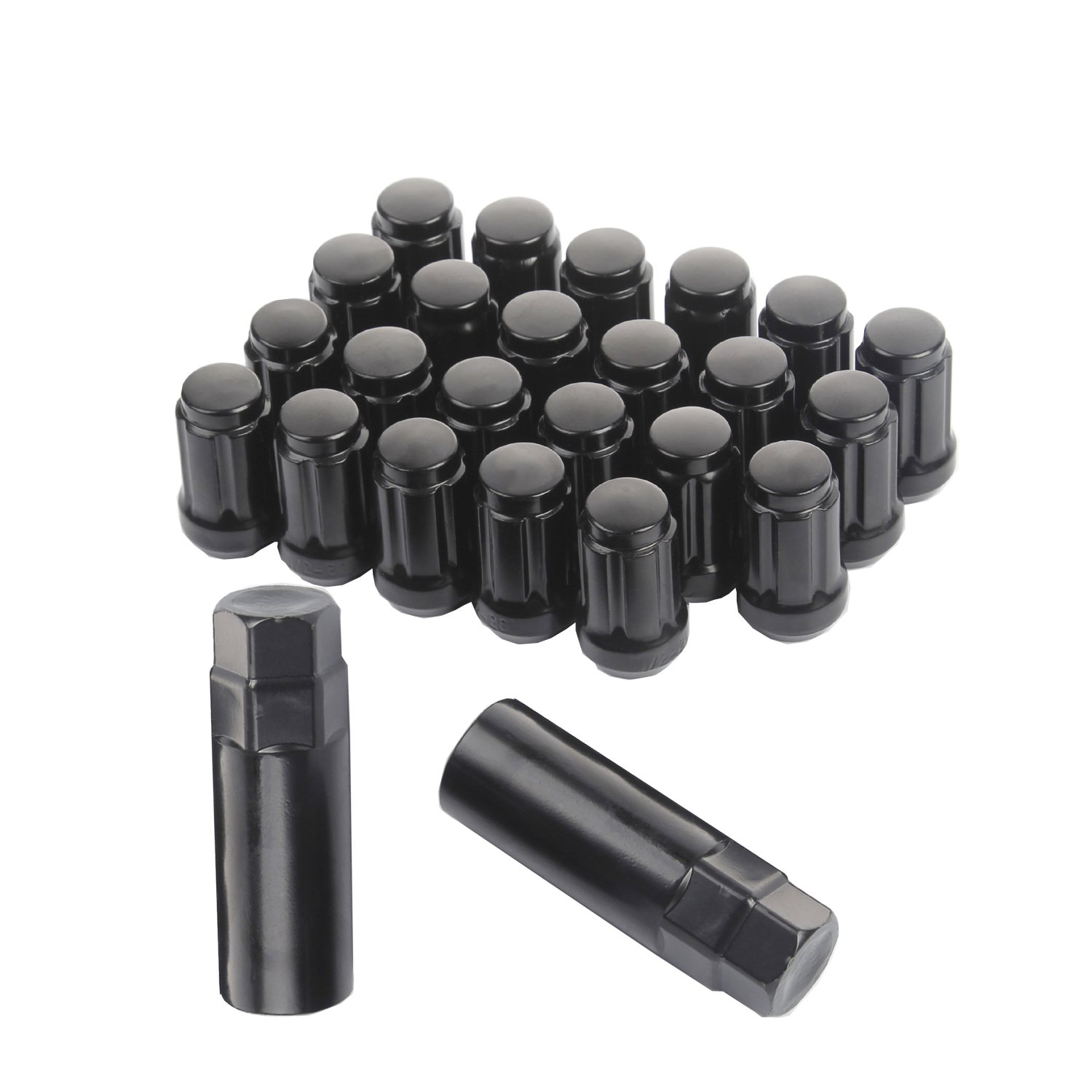 KV Set of 23pcs Black Spline Lug Nuts Closed End 1.38'' 35mm Tall 1/2-20 with 2 Keys fit Jeep Honda Ford Acura Chevrolet