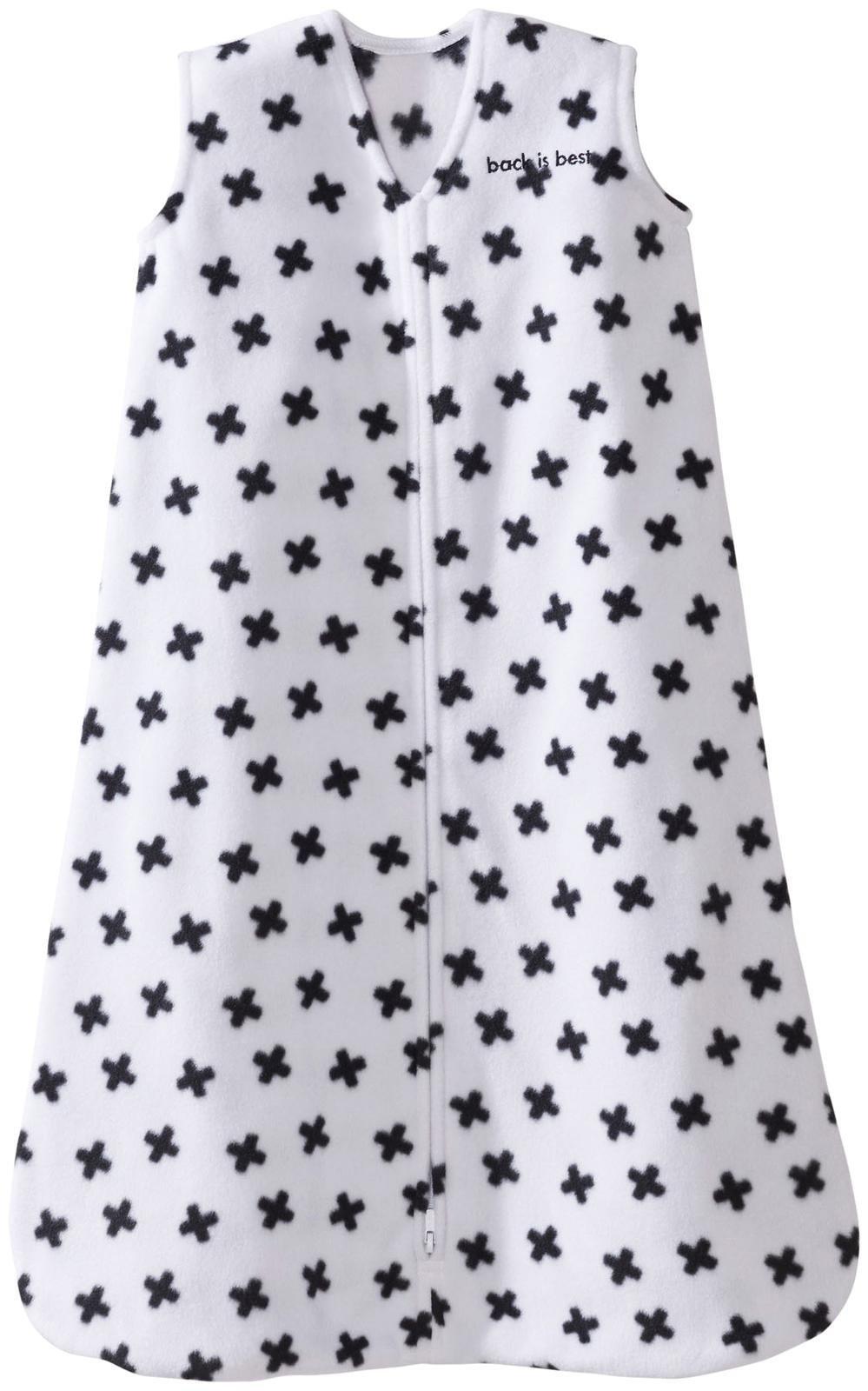 Halo Sleepsack, Micro-Fleece, Black and White Tossed Plus Signs, Small