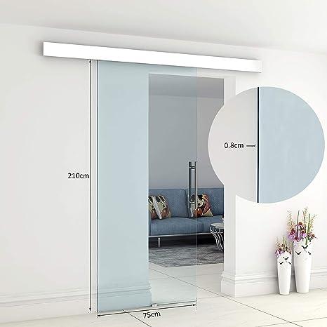 Puerta corredera de interior de cristal 210 x 75 cm Riel de ...