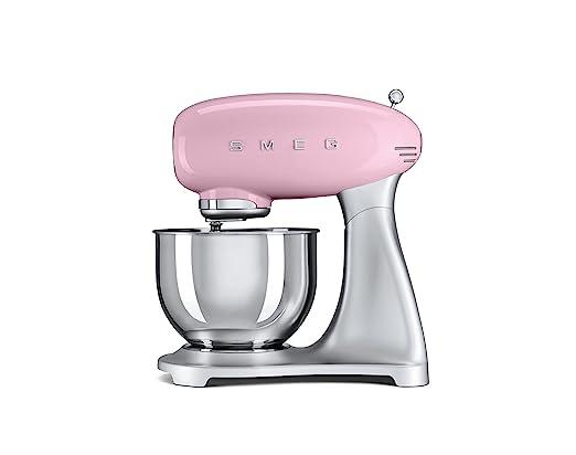 SMEG Batidora amasadora SMF01PKEU, 800 W, Acero Inoxidable, 10 Velocidades, rosa pastel