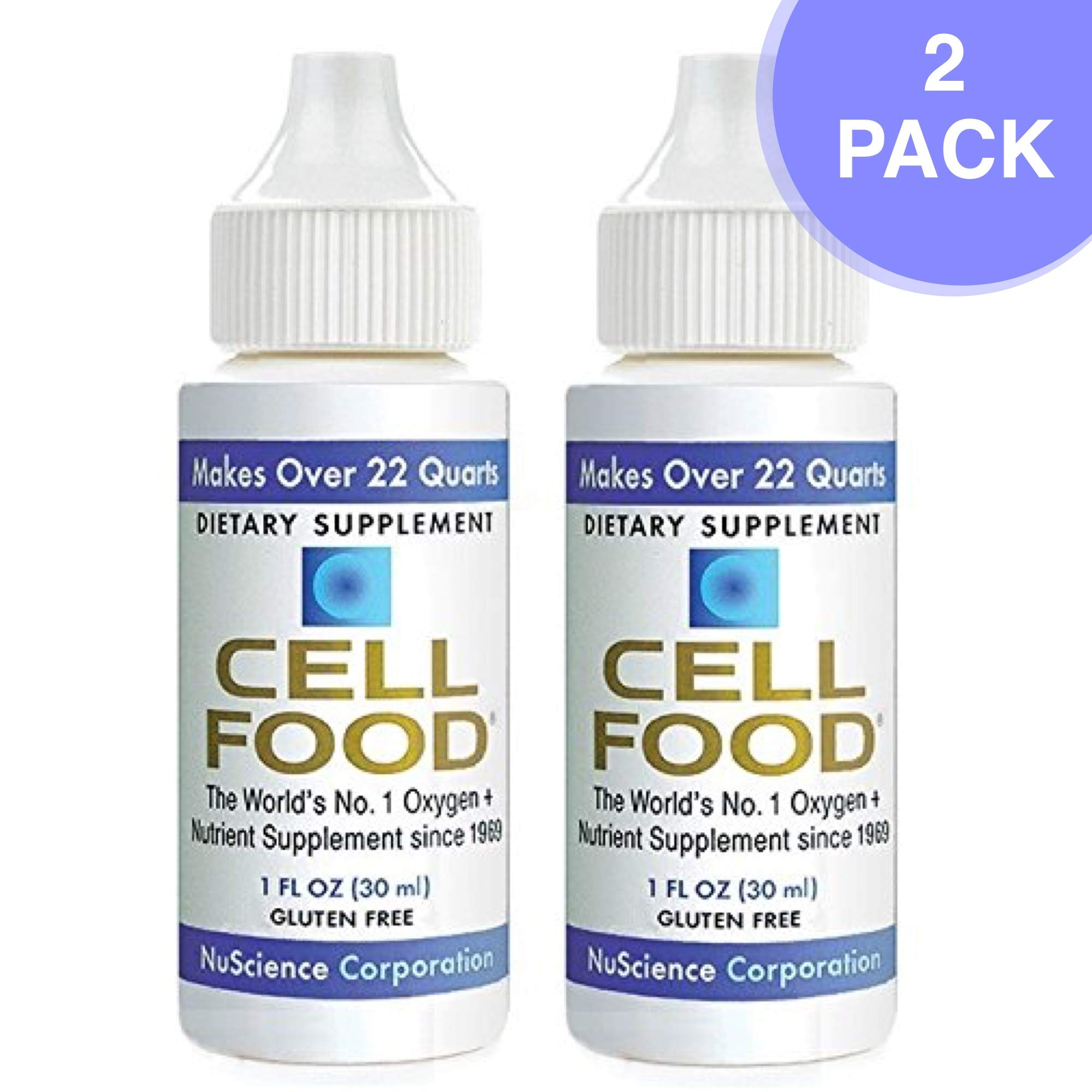 Cellfood Liquid Concentrate, 1 Oz. Bottle (Pack of 2) - Original Oxygenating Formula Containing Seaweed Sourced Minerals, Enzymes, Amino Acids, Electrolytes, Superior Absorption- Gluten Free, GMO Free