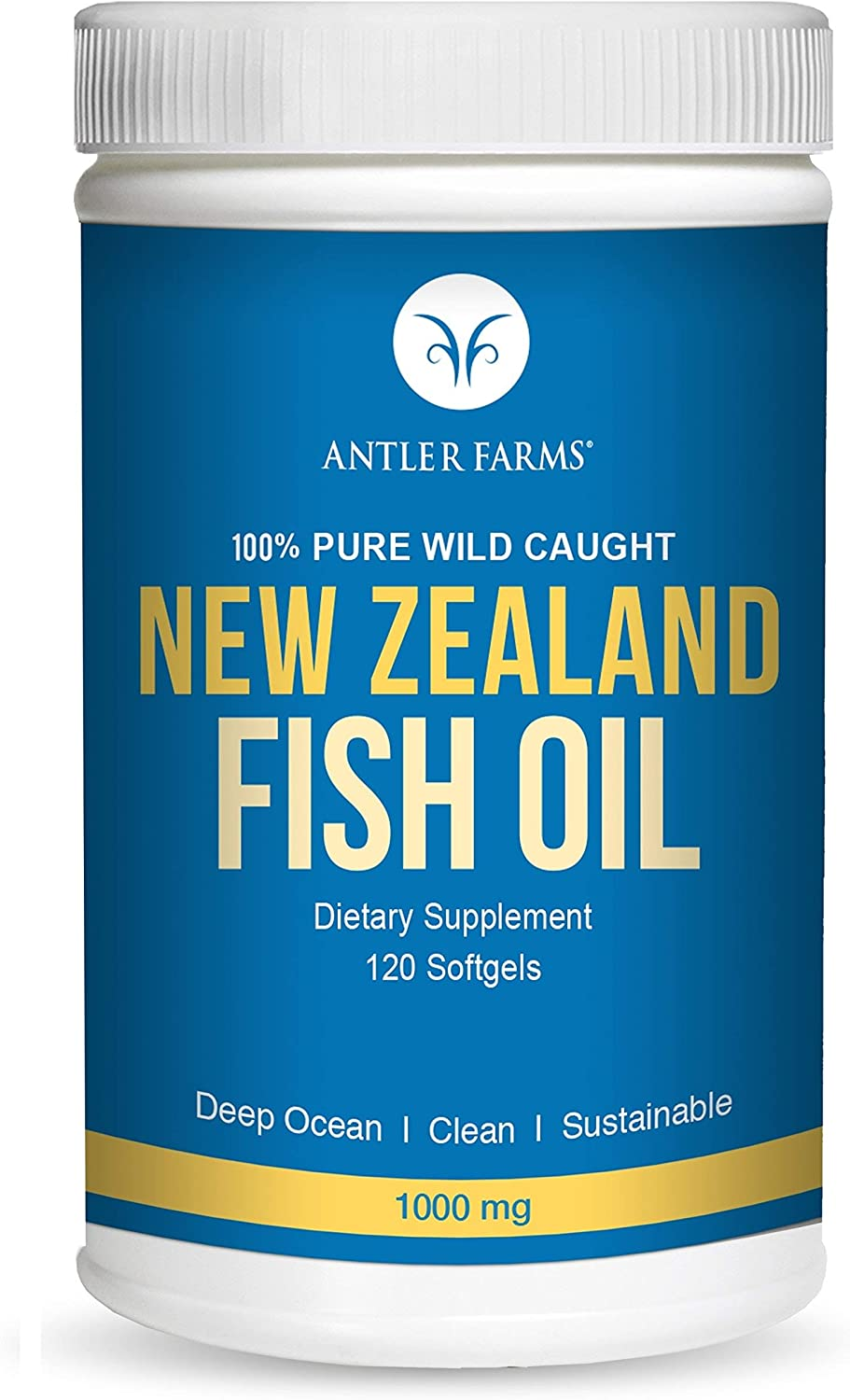 Antler Farms - 100% Pure Wild Caught New Zealand Fish Oil from Deep Ocean, Cold Water Fish, 120 Softgels - Clean, Fresh Omega-3 EPA + DHA Supplement, Keto Friendly, Super Clean