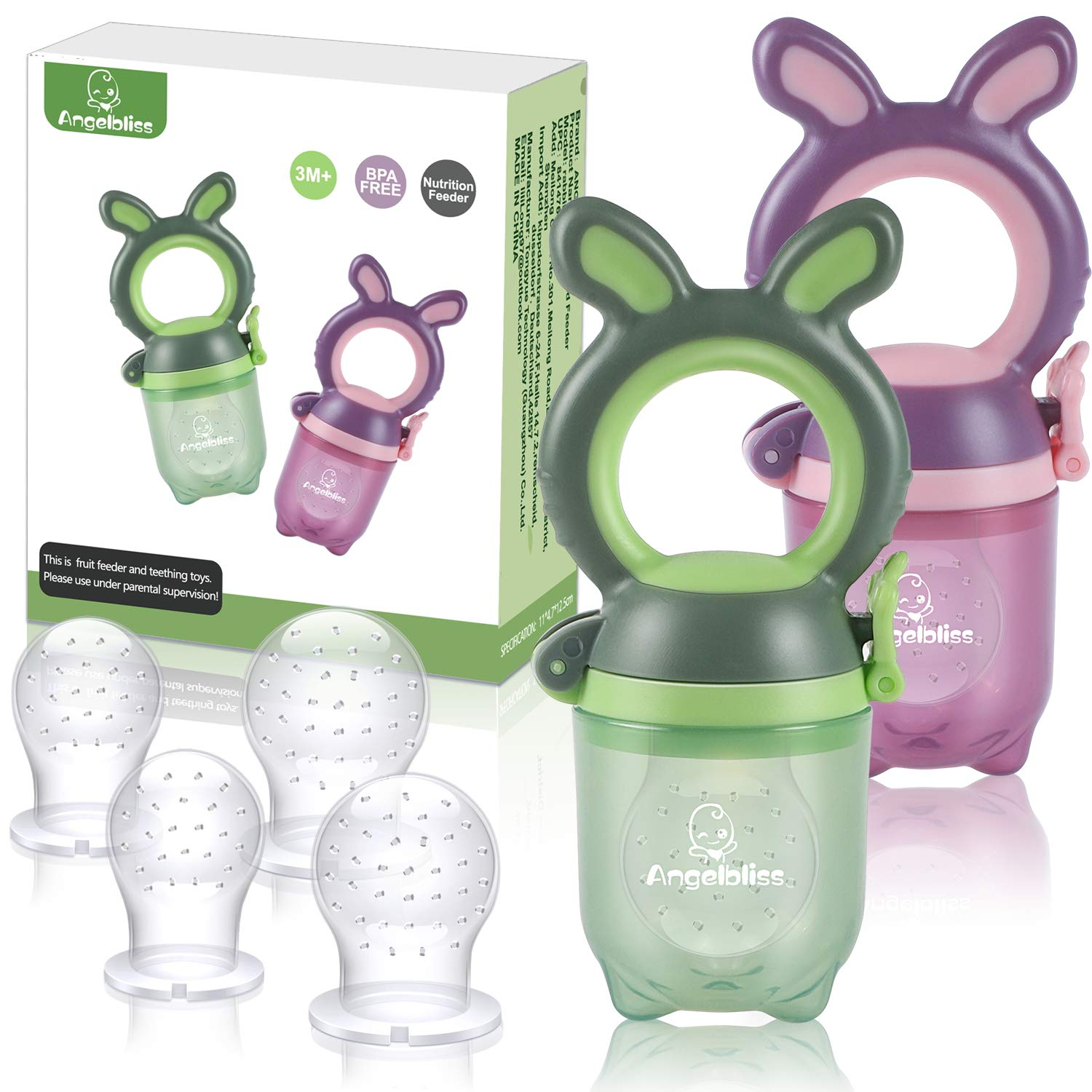 ANGELBLISS Baby Fruit Feeder Pacifier - Fresh Food Feeder, Infant Fruit Teething Toy for 3-24 Months Toddlers & Kids (Green/Purple 2 Pack) BPA Free, CPC Certified