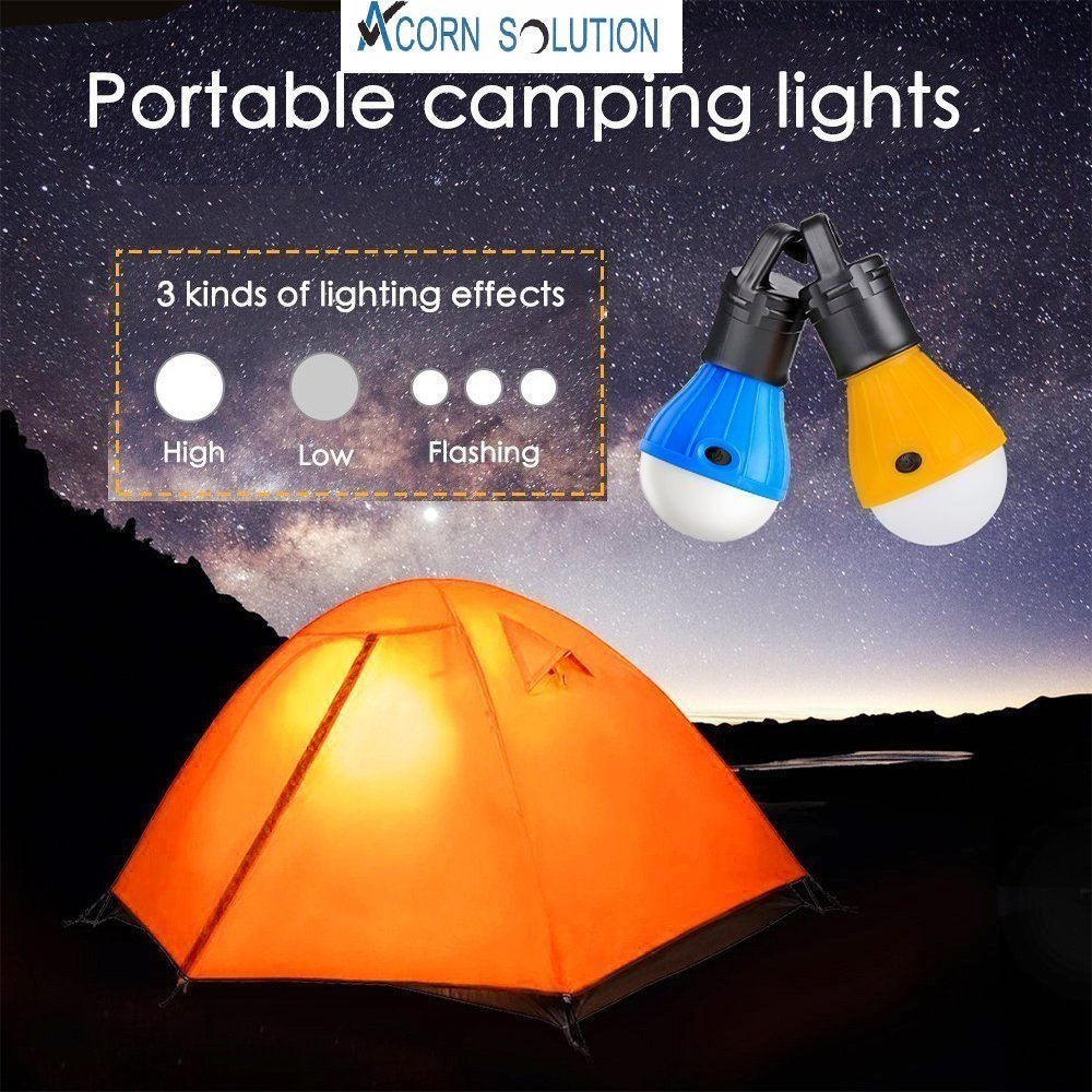 Camping Lantern Lamp Emergency Light Battery Powered Waterproof Portable Bulb for Hiking Fishing Camping Household AcornSolution LED Tent Lamp Energy Class A+