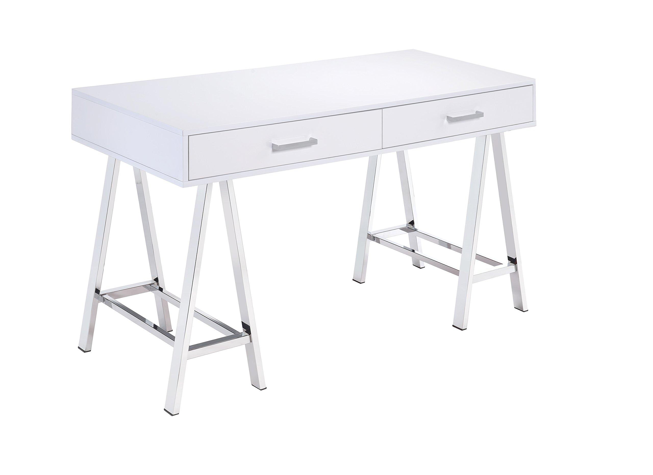 ACME Furniture Acme 92229 Coleen Desk, White & Chrome, One Size