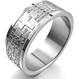 MunkiMix Wide 8mm Stainless Steel Ring Band Silver Tone English Bible Lords Prayer Cross Men,Women