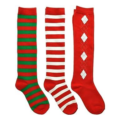 angelina 3 pack kids unisex christmas knee high cotton socks 2533_1 - Light Up Christmas Socks