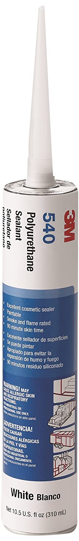 3M Polyurethane Sealant 540 White, Net 10.5 Fluid Ounce Cartridge, (Case of 12)