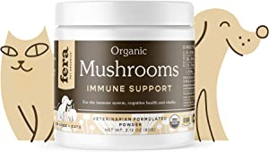 FERA PET ORGANICS Mushroom Blend for Dog and Cat Immune Support - USDA Organic Certified - for Cognitive Health, Vitality, and Immune Support, Made in The USA, 120 Servings, 60g