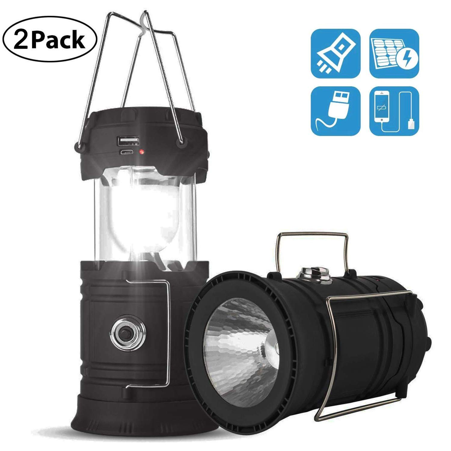 Solar Lantern Flashlights, USB Rechargeable Camping Lantern Led, Collapsible & Portable for Emergency, Hurricanes, Power Outage, Storm (Black 2) by JMADENQ