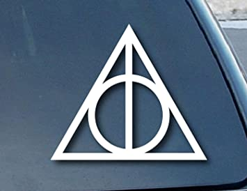 Aufkleber Deathly Hallows Harry Potter Car Window Vinyl Decal Sticker 101mm Wide Color White