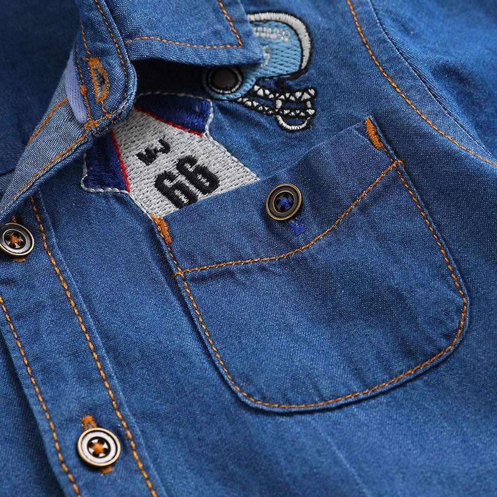 marc janie Little Boys Autumn Appliqu/é Denim Shirt Baby Boys Button Down Shirt