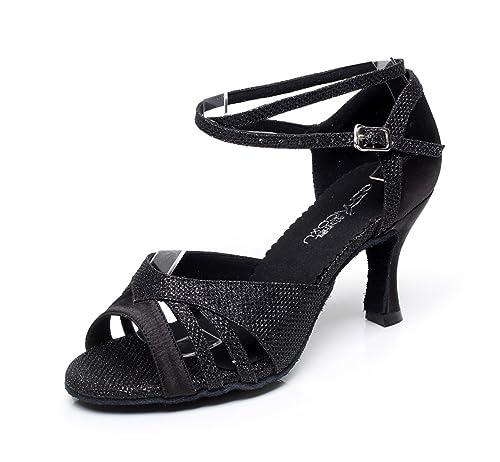 JSHOE Sandalias Con Tacón Acanalado Super Satin Con Brillantes Zapatillas De Baile,Black-heeled7.5cm-UK2.5/EU32/Our33: Amazon.es: Zapatos y complementos