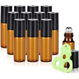 Olilia 5ml Amber Glass Essential Oils Roller Bottles with Stainless Steel Ball 12 Pack, Essential Oils Key included