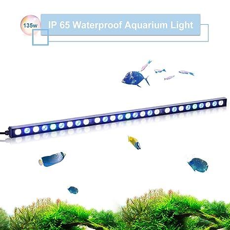TOPLANET 135W Led para Acuarios Lámpara UV Azul Luz para Nano Pecera Coral Grow Impermeable IP65