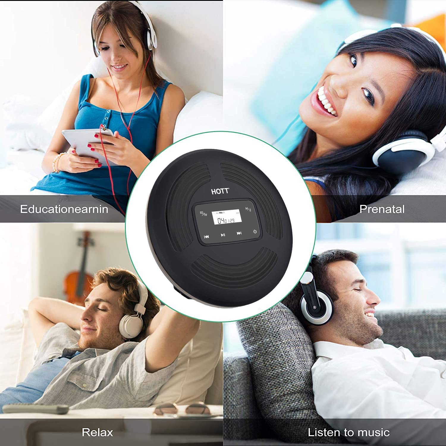 Rechargeable Personal Compact Disc Player with FM Transmitter HongYu Bluetooth Portable CD Player Touch Buttons and Backlight Display for Home Travel and car