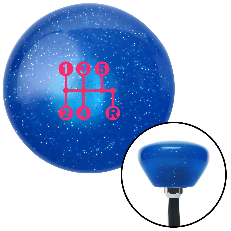 Pink 5 Speed Shift Pattern - Dots 15n Blue Retro Metal Flake with M16 x 1.5 Insert American Shifter 289852 Shift Knob