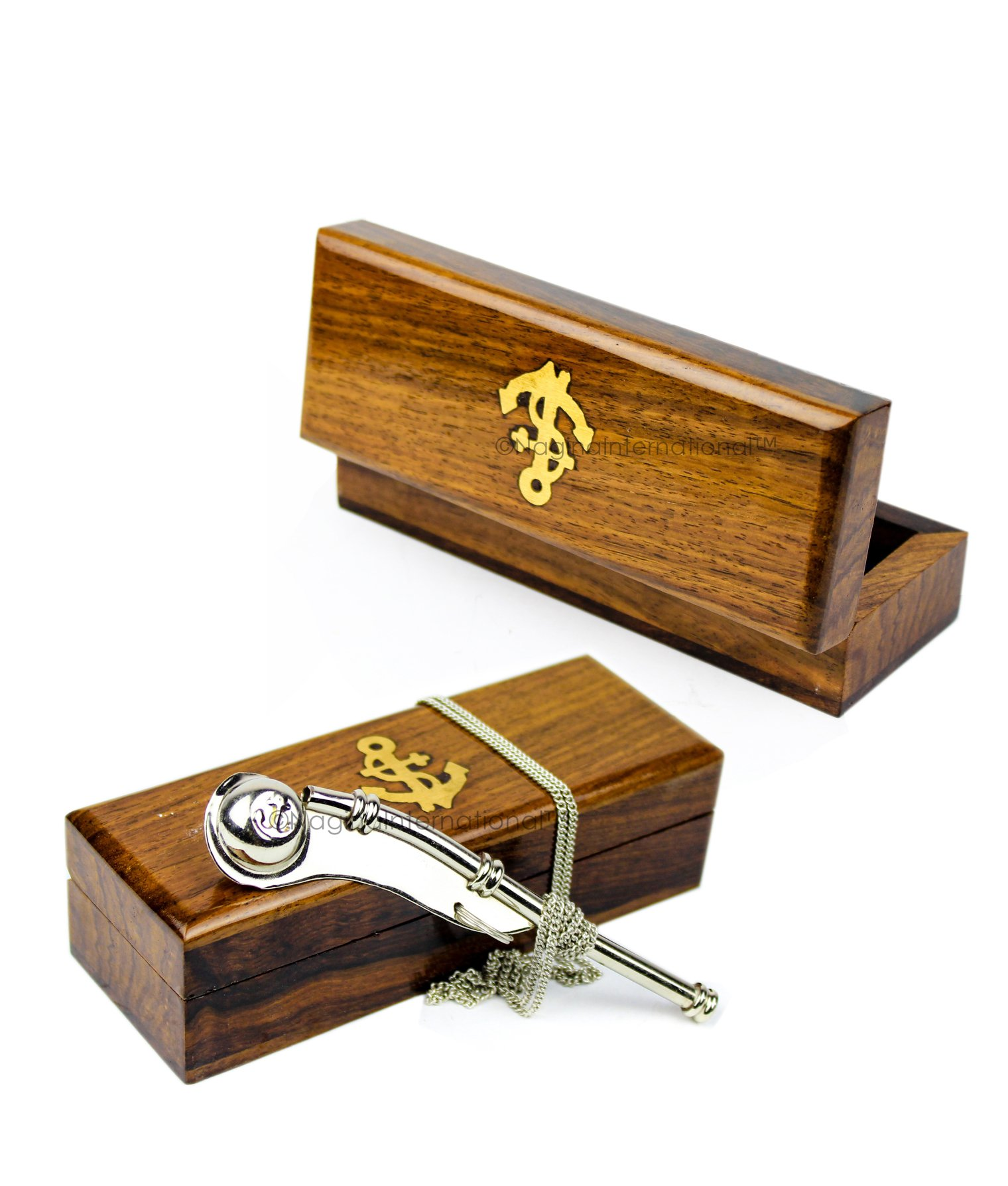 Boatswain's Brass Crafted Bosun's Pipe Whistle With Chain & Handcrafted Rosewood Anchor Inlayed Case | Pirate's Decor Collection | Maritime Decor | Nagina International (Nickel Plated W/ Box) by Nagina International