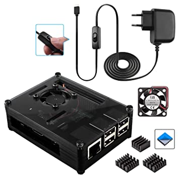 Smraza para Raspberry Pi 3 b+ Caja con 5V 3A Cargador con Conector ON/Off + Ventilador + 3 x Disipador de Calor para Raspberry Pi 3 2 Model b+ b Case ...
