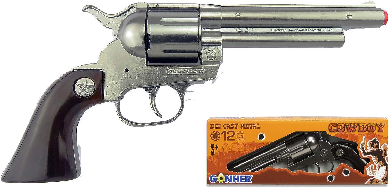 Gonher-Revolver 12 Tiros-Plata, Multicolor, sin Talla (121/0)