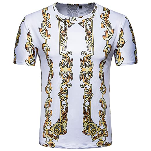 9a7489e0bc9 iHPH7 Mens Blouse Summer Casual Printed Pullover Short Sleeves Shirt Tops  at Amazon Men s Clothing store