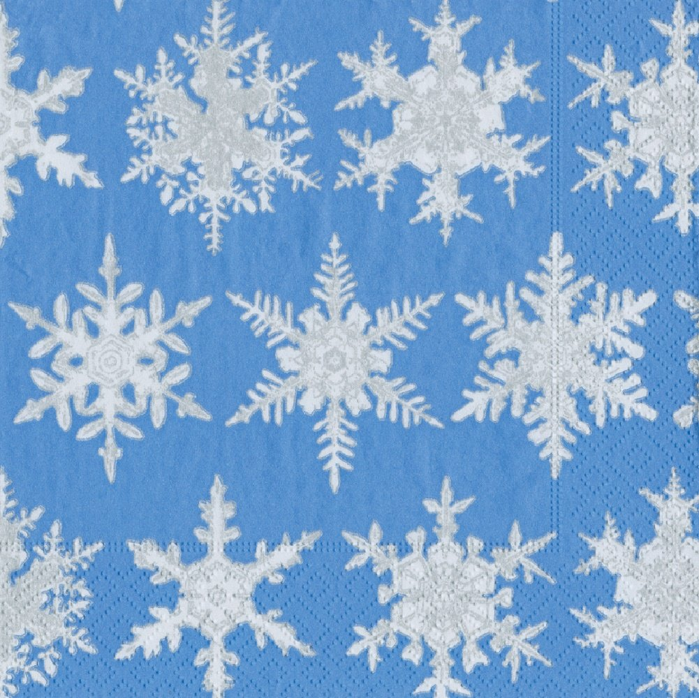 Pack of 20 Blue Entertaining with Caspari Falling Snow Cocktail Napkins